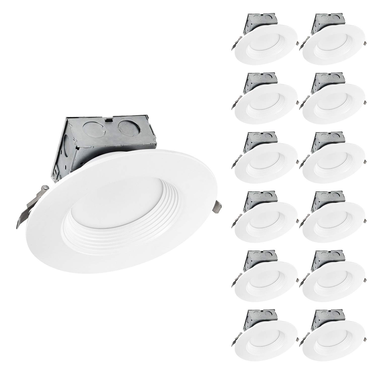 OSTWIN (12 Pack) 6 inch IC Rated LED Ceiling Recessed Downlight Kit With Junction box, Baffle Trim, Dimmable, 15W(120Watt Repl) 5000K Daylight, 1100Lm. No Can Needed ETL and Energy Star Listed