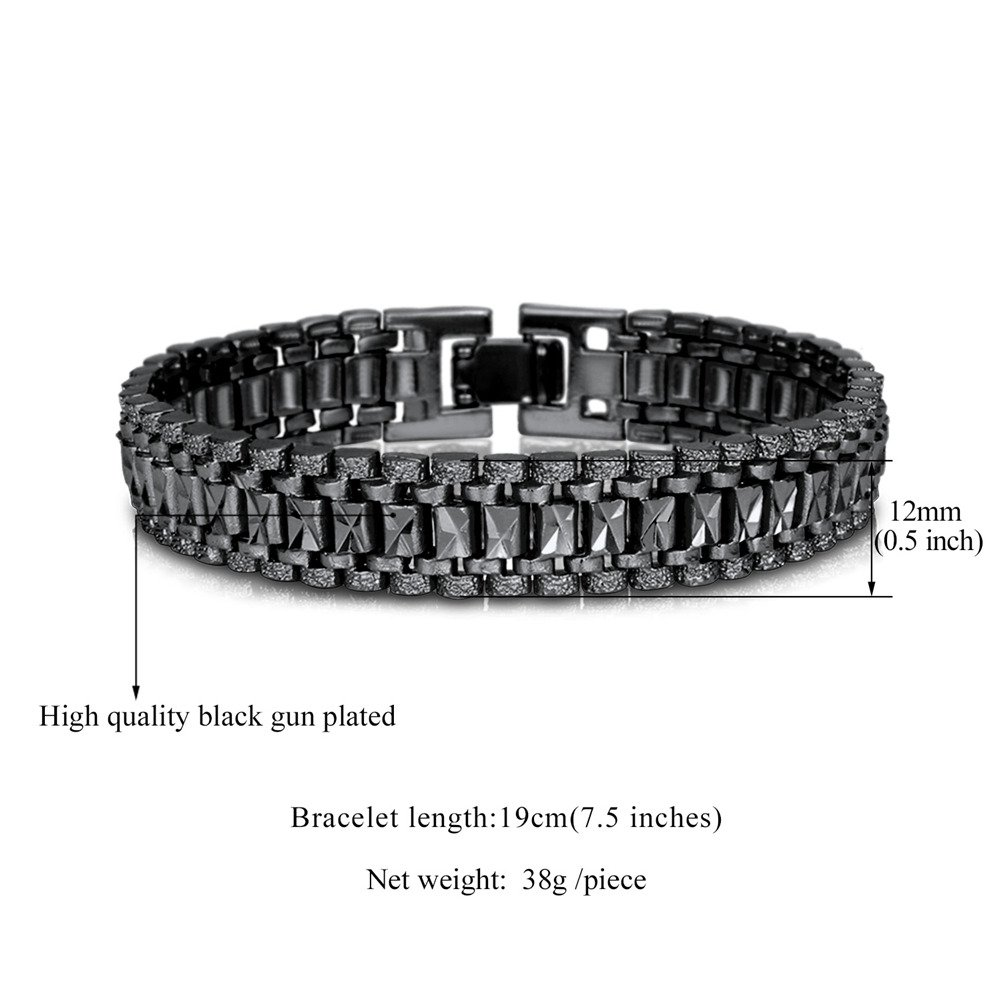 aba4d48df8186 U7 Black Plated, Mens Bracelet Punk Rock Style, Big Wide Chunky ...
