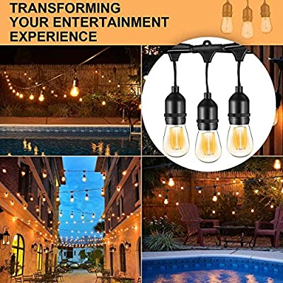 Banord 2 Pack LED 48FT Outdoor String Light, Commercial Grade Heavy Duty Light String with 15 x E26 Socket, 36 x 2W Dimmable S14 Bulb String Lighting, Waterproof Vintage Patio Hanging Light