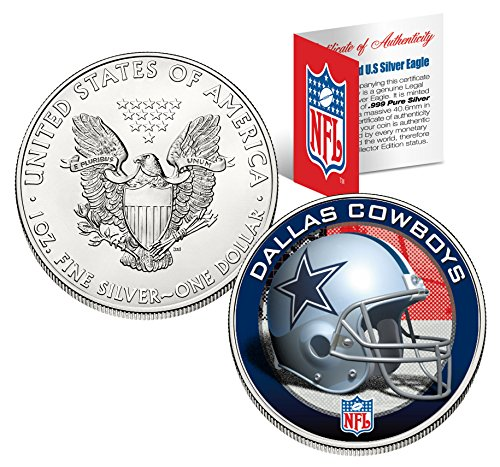 Coin Dallas Cowboys Silver - DALLAS COWBOYS 1 Oz American Silver Eagle $1 US Coin NFL OFFICIALY LICENSED with BOX