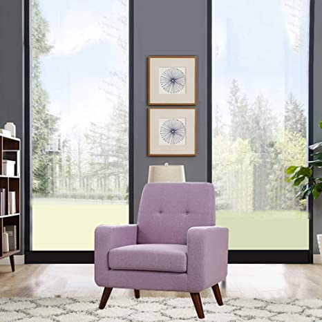 Funkeen Accent Chair, Modern Arm Chair Upholstered Fabric Single Sofa Comfy  Chair Living Room Furniture Purple