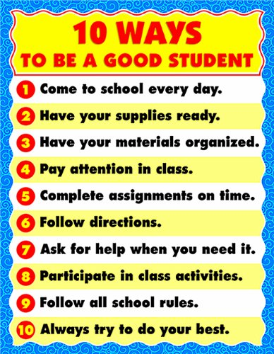 Can You Be Good Student And Have >> Carson Dellosa 10 Ways To Be A Good Student Chart 6295
