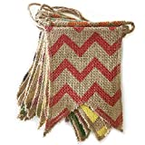dealzEpic - Country Style Rustic Burlap Banner with Colorful Zigzag Chevron Pattern for Yard and Garden Winter Decoration - 21pcs Swallowtail Shaped Banners