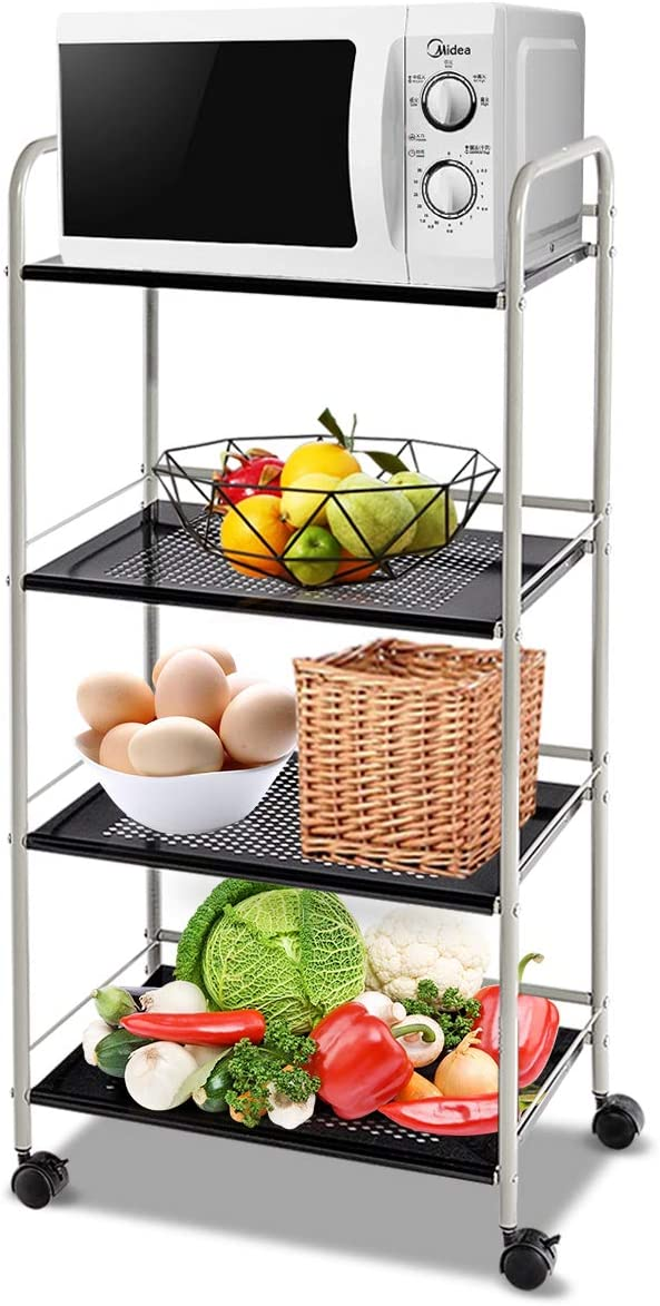 Giantex Standing Baker s Rack Utility Cart Rolling Cart Storage Steel Shelf Rack Metal Mesh Tier for Commercial Kitchen Warehouse Garage Bathroom Organizer Shelves W Lockable Wheels 19.5 L