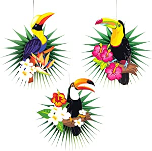 3Pcs Honeycomb Parrot Decorations Cooyeah Tropical Bird Toucan Paper Flower Garland Hanging Decor for Wall Ceiling Summer Luau Tiki Hawaiian Beach Pool Wedding Birthday Party Ornament