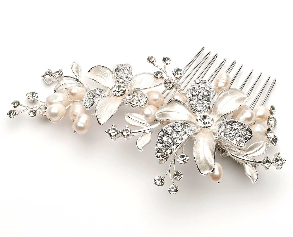 Wedding accessories pearls flowers pearls - Amazon Com Side Bridal Comb Wedding Hairpiece With Flowers Fresh Water Pearls Rhinestones 2050 Apparel Accessories Beauty