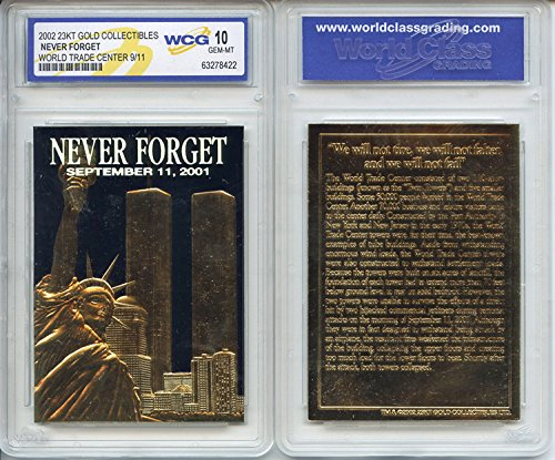 Gold Mint Card - WORLD TRADE CENTER 9/11 First Anniversary 2002 Gold Card - Graded GEM MINT 10