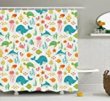 Ambesonne Cartoon Decor Collection, Underwater Animals Aquatic Marine Life with Crabs Sea Stars Fish Illustration, Polyester Fabric Bathroom Shower Curtain Set with Hooks, Teal Green Yellow