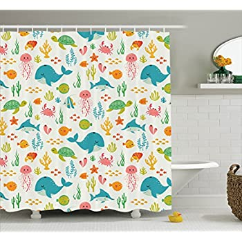 Animals Aquatic Marine Life with Crabs Sea Stars Fish Illustration   Polyester Fabric Bathroom Shower Curtain Set with Hooks  Teal Green YellowAmazon com  Fabric Shower Curtain by Ambesonne  Whale Shark  . Yellow And Teal Shower Curtain. Home Design Ideas
