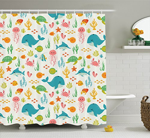 Ambesonne Cartoon Decor Collection, Underwater Animals Aquatic Marine Life with Crabs Sea Stars Fish Illustration, Polyester Fabric Bathroom Shower Curtain, 84 Inches Extra Long, Teal Green (Long Fish)