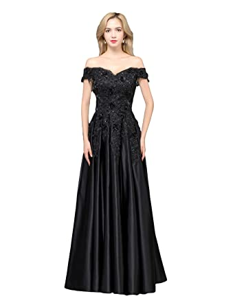 Stillluxury Off Shoulder Beaded Flowers Prom Dress Long Formal Evening Gown Women Black Size 6