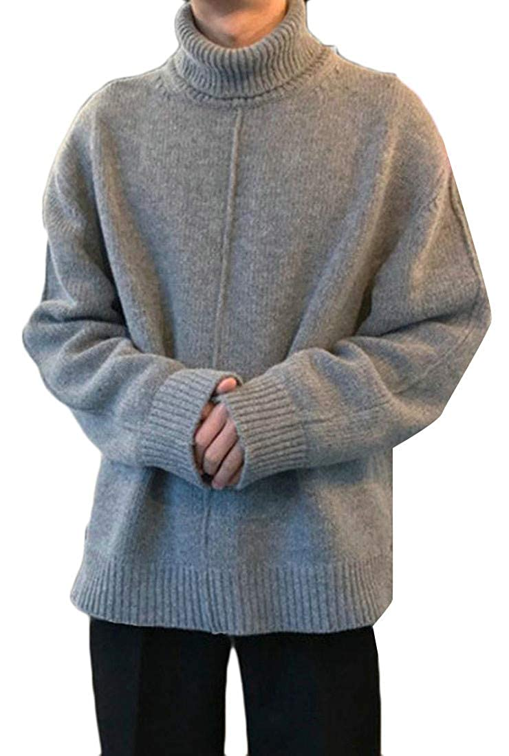 Wofupowga Mens Warm Knit Jumper Fall Winter Turtle Neck Side Slit Pullover Sweater