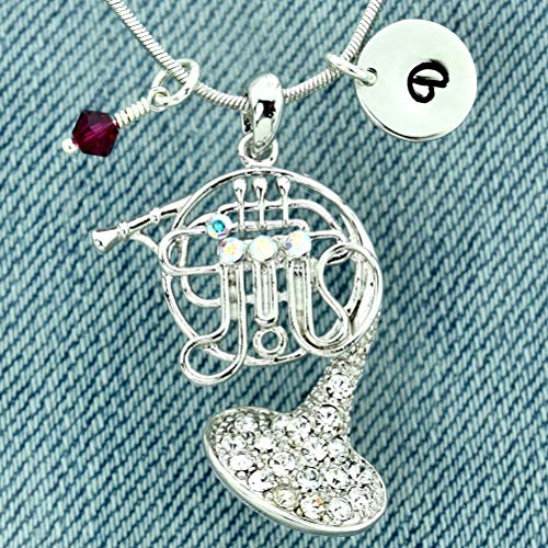 French Horn Music Personalized Necklace Hand Stamped Customizable Round Initial Letter Charm Sparkling Crystals Birthstone Charm Pendant Chain Custom Gift Jewelry