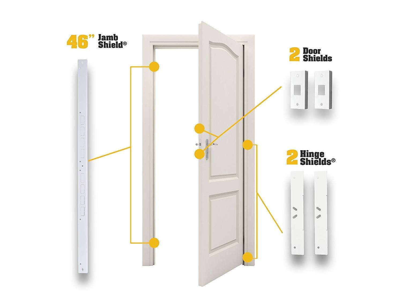 Door Armor MAX – Complete Door Reinforcement Set For Jamb, Frame, Strike Plate — DIY Home Door Security – White by Armor Concepts (Image #3)