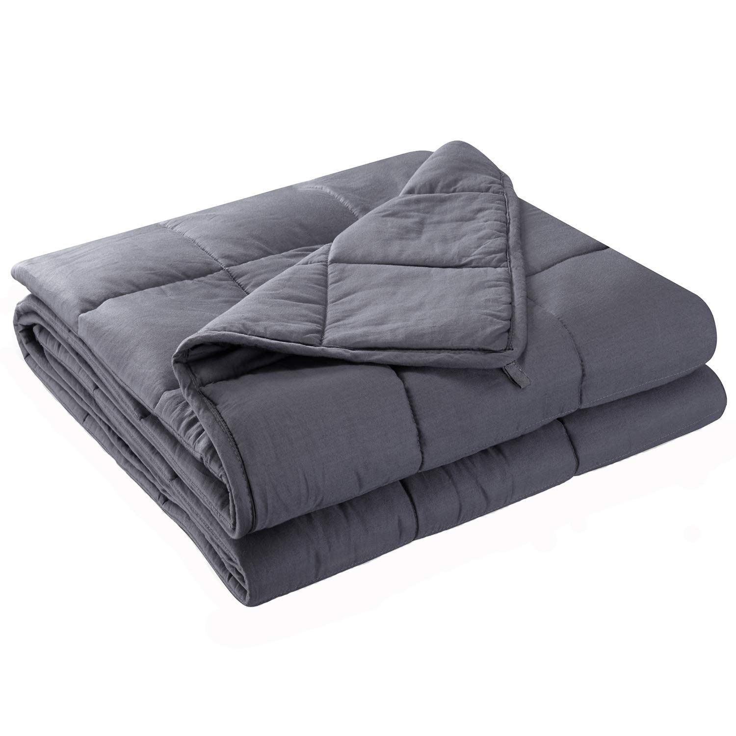 Anjee Weighted Cooling Blanket for Adults | Heavy Blanket | 100% Eco-Friendly Cotton Material with Silica Beads for Better Sleep (60 x 80 Inches, 15 lbs for 100-150 lbs Individual, Grey) by Anjee