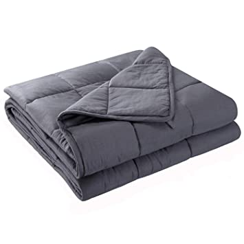 Anjee Weighted Cooling Blanket for Adults | Heavy Blanket | 100% Eco-Friendly Cotton Material with Silica Beads for Better Sleep (60 x 80 Inches, 15 ...
