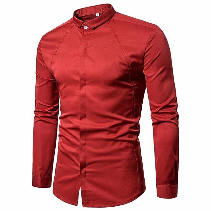 Blusa Hombre Yesmile Camiseta Camisas para Hombres Slim Fit sólido de Manga Larga Camisas de Botones Casuales Top Blusa Formal: Amazon.es: Ropa y accesorios