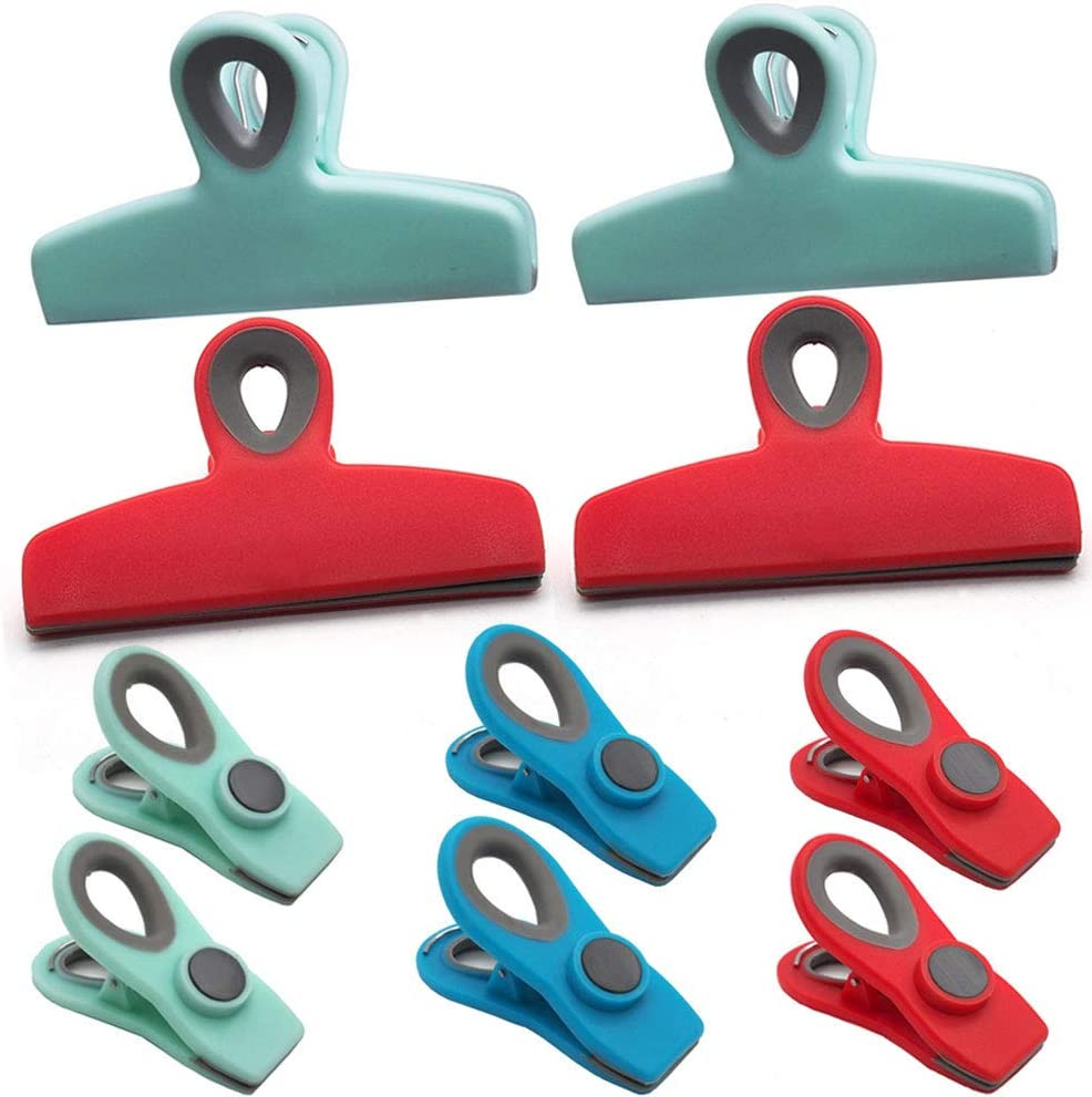 10 Pack Food Sealing Clips Rubber Refridgerator Magnet Chip Bag Clips Photo File Clamps Air Tight Storage Bag Clips for Food and Snacks Home Kitchen Office School Usage, Assorted Color Size