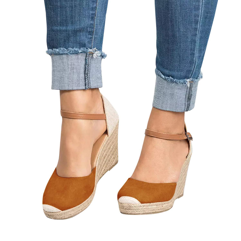 Womens Summer Espadrille Heel Platform Wedge Sandals Ankle Buckle Strap Closed Toe Shoes