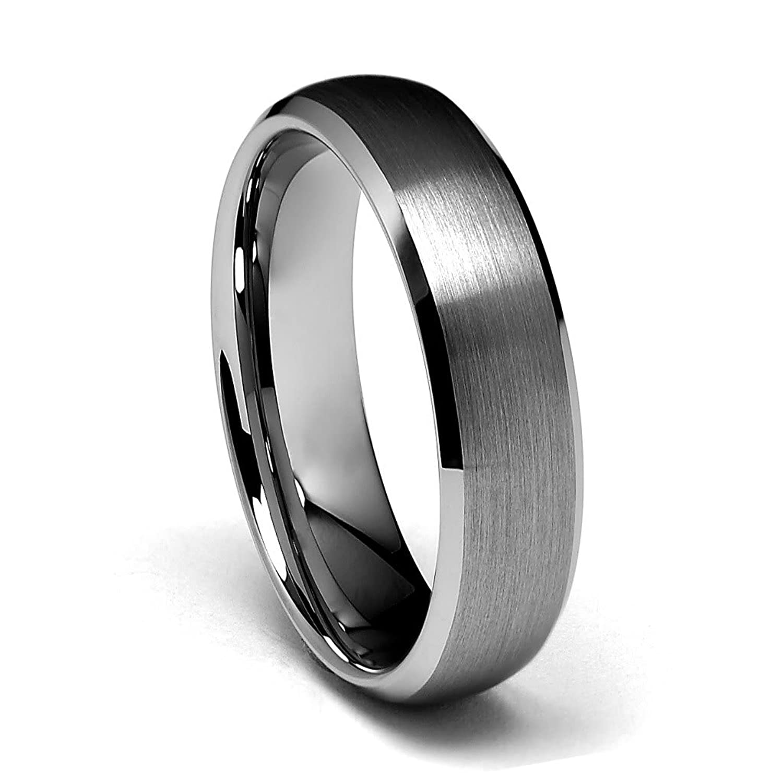 6mm beveled edge tungsten wedding band