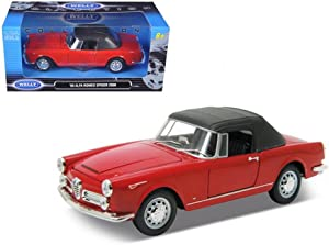 Welly 24003CW-R 1960 Alfa Romeo Spider 2600 Convertible Red 1-24 Diecast Car Model