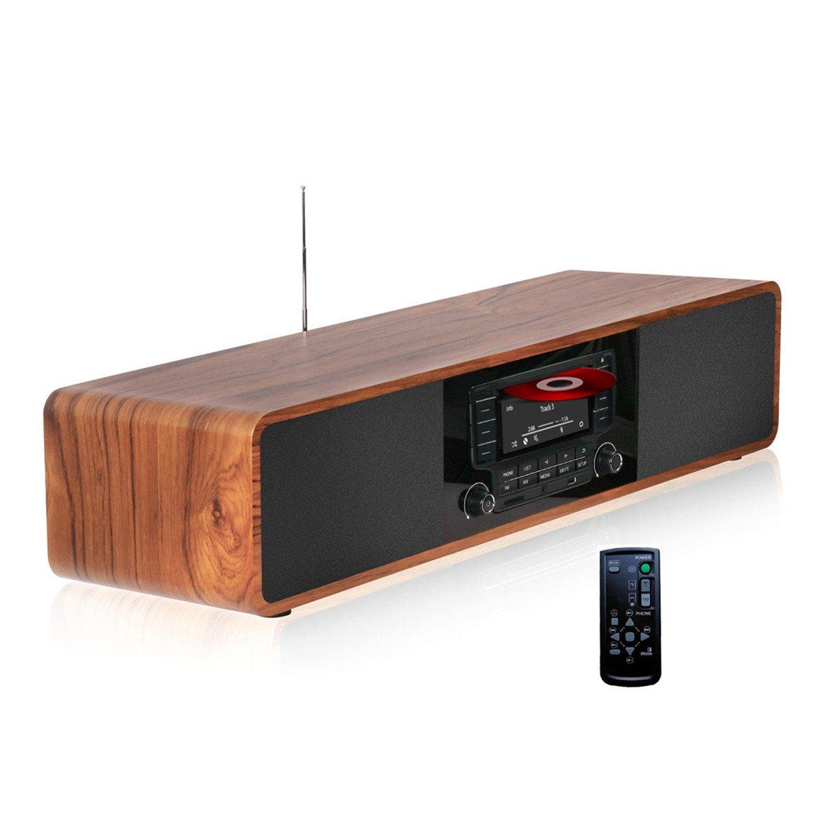 KEiiD Compact CD/MP3 Player Stereo Wooden Desktop Bluetooth Hi-Fi Speaker Portable Boombox Home Audio Component Music Shelf System with FM Radio Digital Tuner Remote Control USB SD AUX,Soundbar