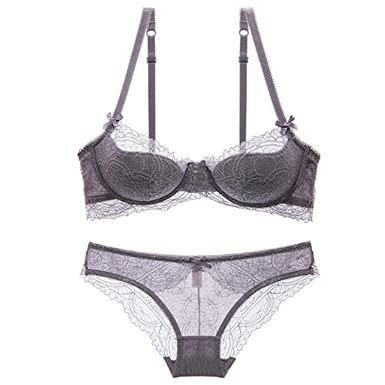 9ef850fe255 Girl Bra Set Plus Size Underwear Set Women Sexy Lace Bras Push Up  Embroidery at Amazon Women s Clothing store