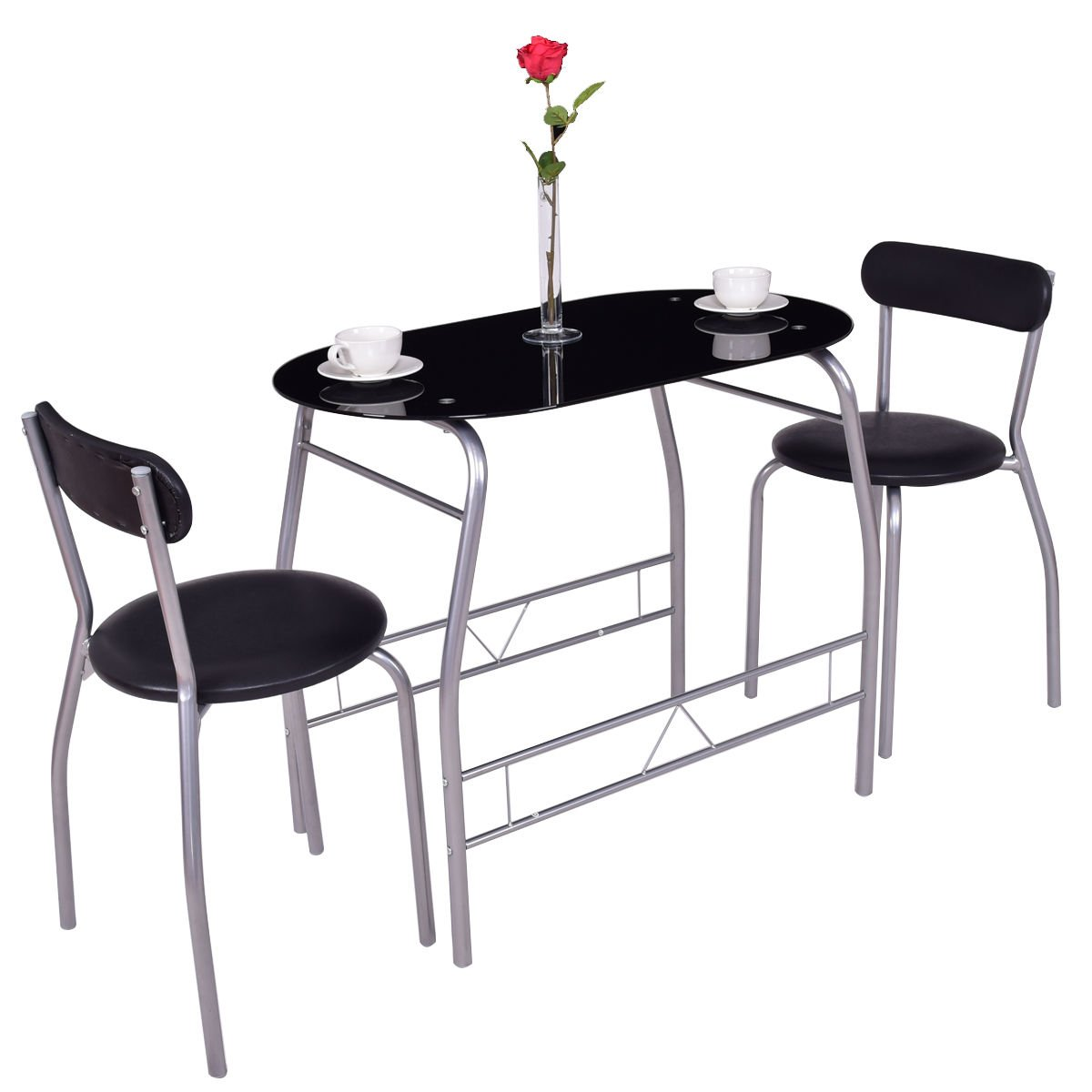 Sittikatechai Dining Set 3Pcs Tempered Glass Top Table 2 Chairs Bistro Kitchen Furniture