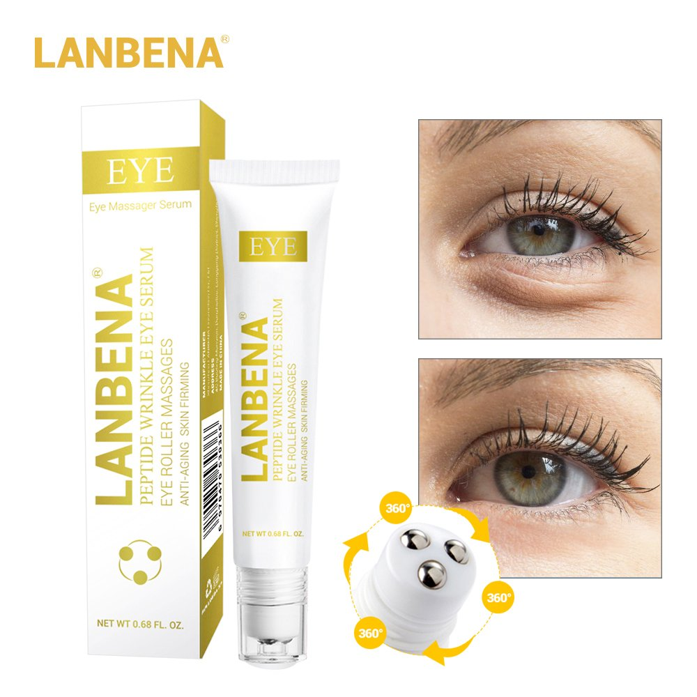 Peptide Wrinkle Eye Serum Anti-Puffiness Eye Roller Massages for Eye Clearly Brighter+Remove Fine Lines Dark Circle Eye Bag+Skin Anti-Aging Moisturizing+ Anti Fatigue Edema