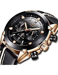 Watches for Men Sports Chronograph Waterproof Analog Quartz Watch with Black Leather Band Classic Casual Big Face Mens Wrist Watch Gold Black
