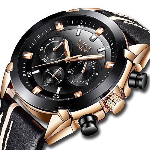 LIGE Watches for Men Sports Chronograph Waterproof Analog Quartz Watch with Black Leather Band Classic Casual Big Face Mens Wrist Watch Gold (Classic Gold Dress Watch)