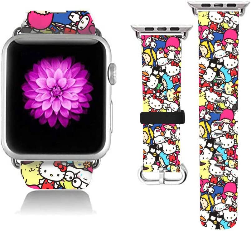 Compatible with Apple Watch Leather Band 38mm Stainless Steel Connector Watch Band Cute Strap Hello Kitty Wristbands Replacement for Apple Watch 38mm Series 6 Series SE Series 5 Series 4 Series 3/2/1