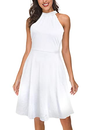 b0c4407f3b5 FANVOOK Midi Dress with Pockets Women s Tank Dress Flowy Hem High Wasit  Dresses for Work Business