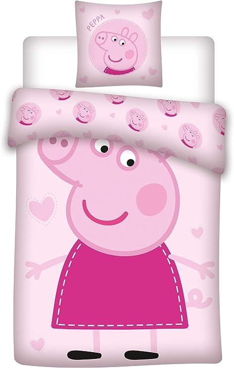 AYMAX S.P.R.L. Peppa Pig - Juego de cama infantil (funda nórdica ...