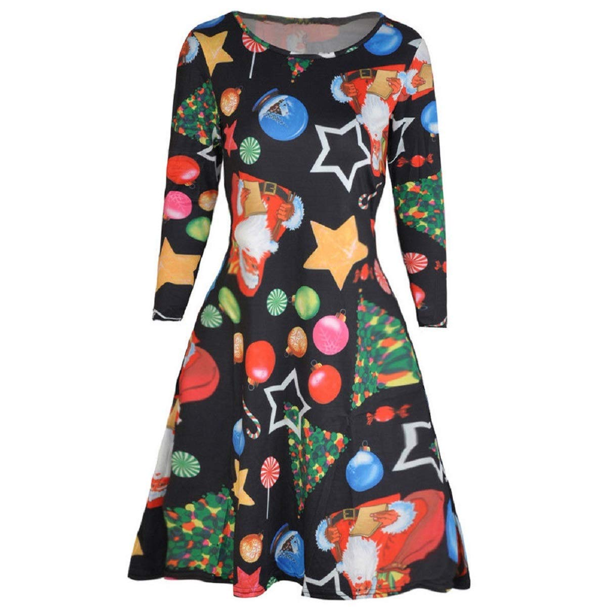 Auwer Womens Christmas Dress Long Sleeve Casual Aline Party Dress