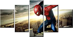Pangoo Art 5 Piece Frameless Printed Spiderman Movie Poster Prints Canvas Pictures Paintings on Canvas Wall Art for Home Decor Unframed Poster