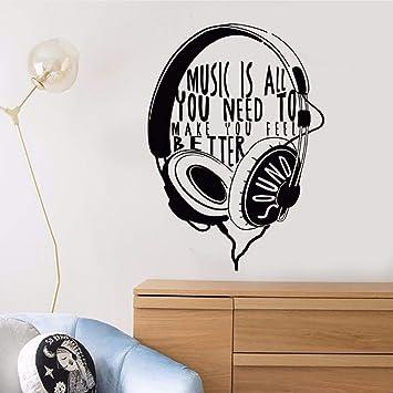 Relovsk Tatuajes De Pared De Vinilo Auriculares Musicales Etiqueta ...