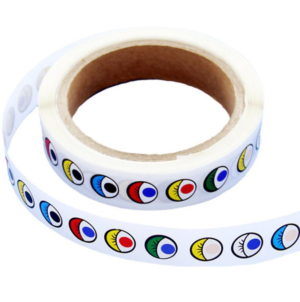 Hosaire 1 Roll Color Eye Stickers for Children to Decorate and Personalise Crafts Cards - Scrapbooking Model Making Embellishment for Kids(1000 Pcs Eyes)
