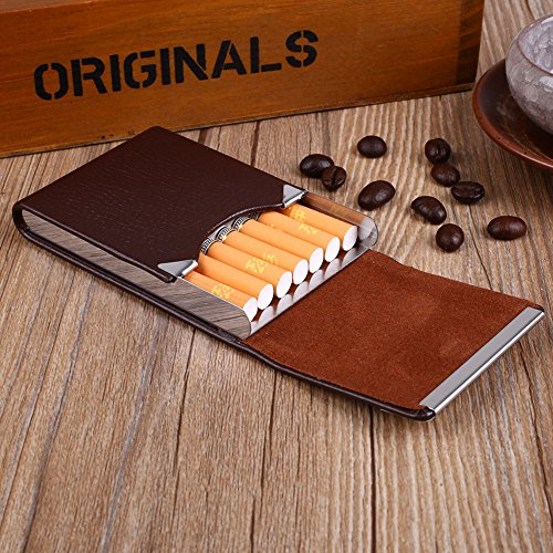 Leather Hard Cigar Case - Tiptiper Cigarette Box, PU Leather Cigarettes Case Classical Metal Cigarette Tobacco Box Smoking Gift(coffee)