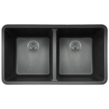 802 Black Undermount Double Equal Bowl Quartz Kitchen Sink