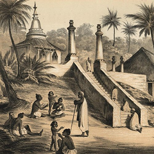 Ceylon Buddhist temple Ackermann 1856 Perry Expedition old litho view print