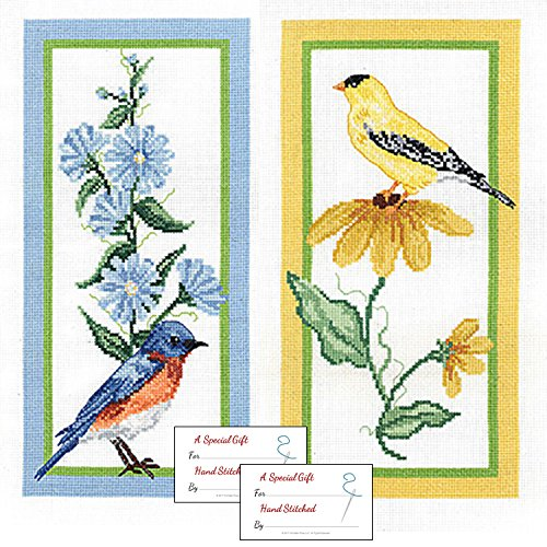 Janlynn Flower and Bird Counted Cross Stitch Kits - Bluebird and Goldfinch with Gift Cards - Beautiful Bird Counted Cross Stitch