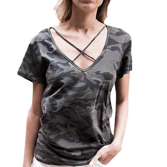 Sky Mujeres Camuflaje V Cuello Manga Corta Tanque de Cultivos Top Blusa Camiseta Tank Crop Tops
