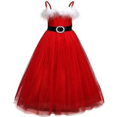9e5401183 Amazon.com: G-Real Girls Tutu Princess Christmas Outfits Clothes Dress  Sleeveless Bow Santa Deer Print Kids Clothes Party Flower Dress: Clothing