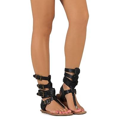 Liliana Avis-3 Women Leatherette Strappy T-Strap Gladiator Thong Sandal - Black   Flip-Flops