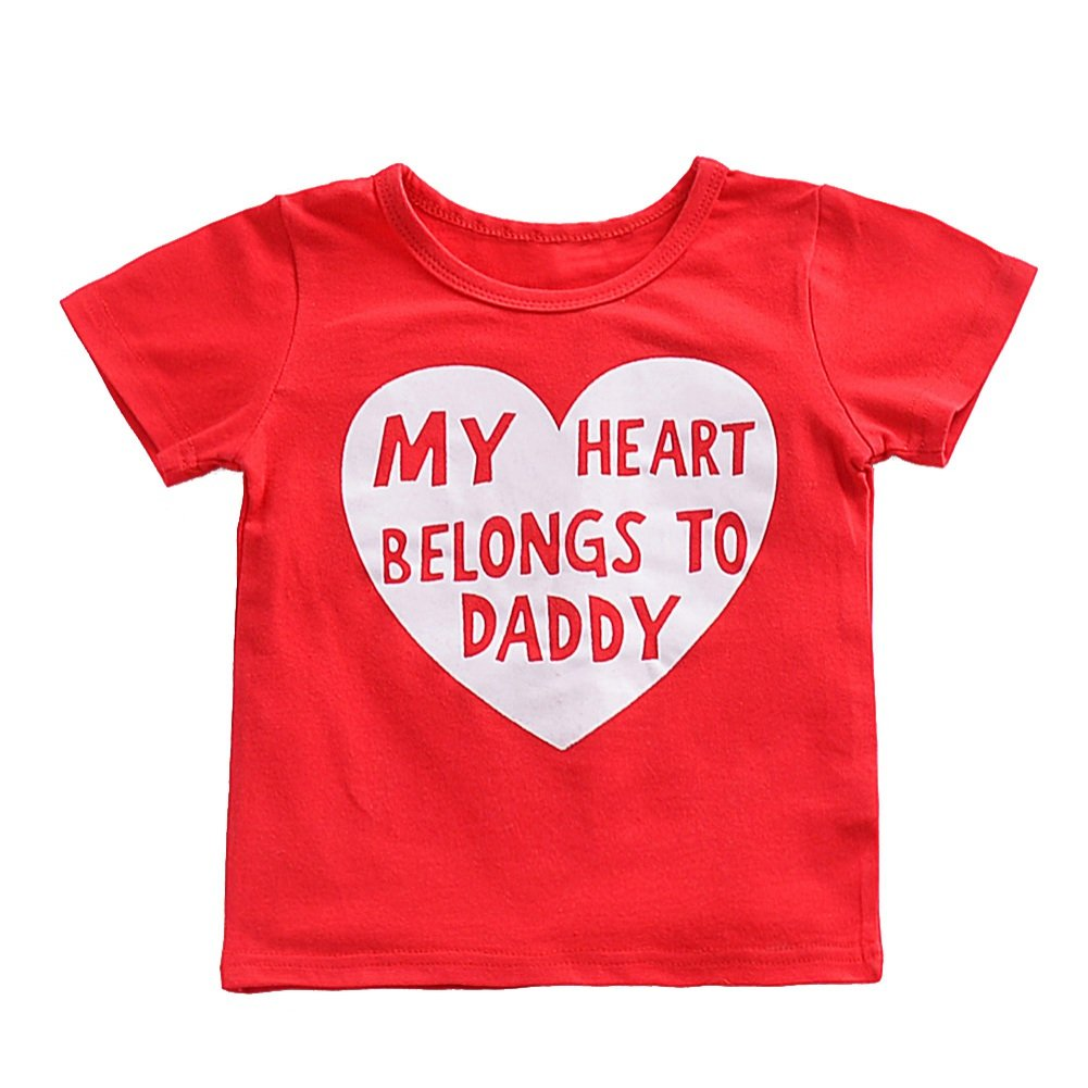 Shiningup Infant Toddler Baby T-Shirt Red My Heart Belongs to Daddy Fashion Top for 6 Months to 3 Years Old