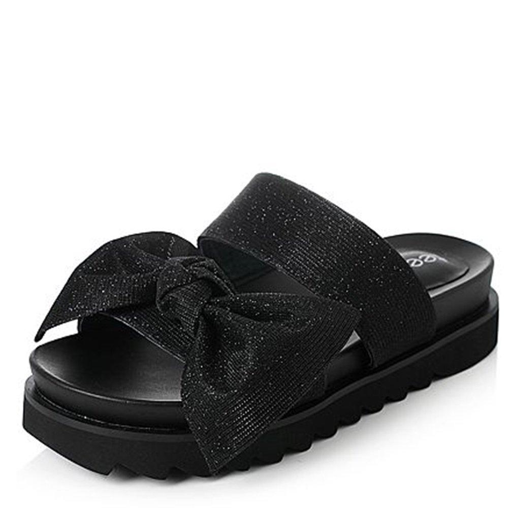 Hausschuhe MEIDUO Weibliche Sandalen Sommer-Textil-Bogen Schwimmbad-Sandalen Weibliche MEIDUO Pantoffeln (2 Farben Optional) (Größe Optional) A 0143d8