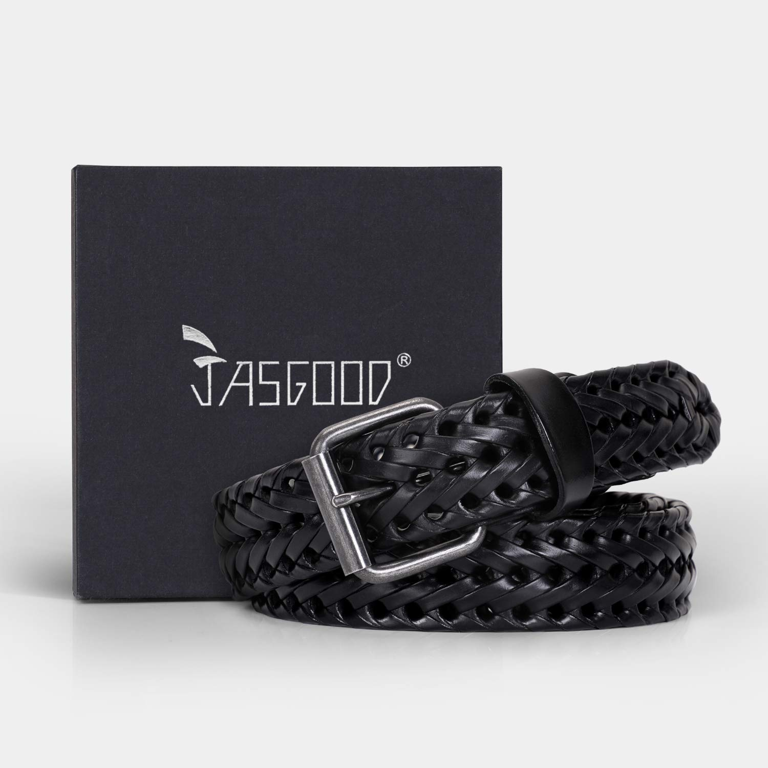 Men\'s Leather Braided Belt, JasGood Cowhide Leather Woven Belt for Jeans 1.3 Inch Wide with Prong Buckle,Fits Pants Size 33-38 Inches,1-Black
