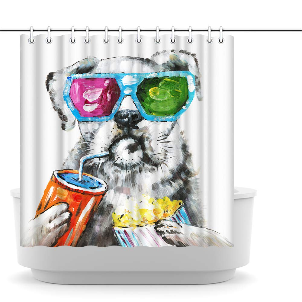 Innopics Funny Dog Shower Curtain Set Animal Pet Theme Bath Curtain Colorful Sunglasses Dog Bathroom Creative Decor Polyester Fabric Waterproof 72 x 72 Inches with Hooks