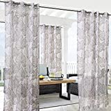 Havana Leaf Outdoor Voile Curtain with Grommets (54'' wide by 108'' long, Taupe)
